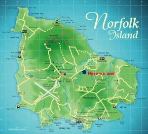 Map of Norfolk Island and our location.